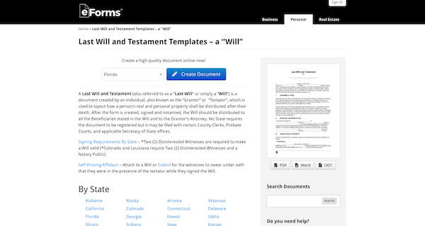 eForms' last will and testament templates page
