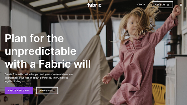 Fabric Wills' welcome screen
