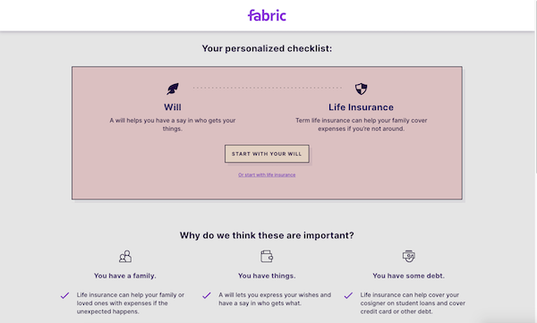 Fabric Wills' personalized checklist page