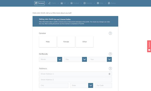 FreeWill's profile setup page