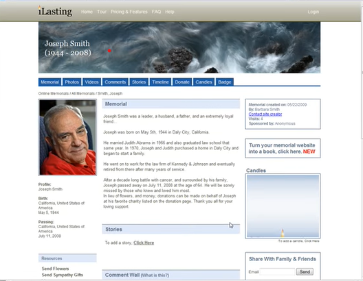 iLasting's Online Memorial Page Example