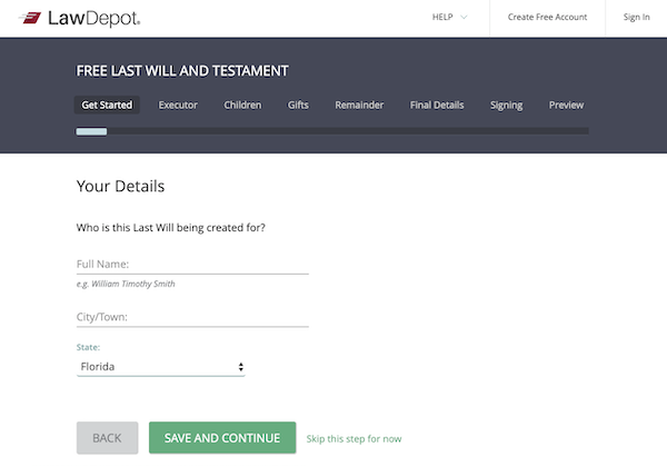 LawDepot's free last will and testament, get started page