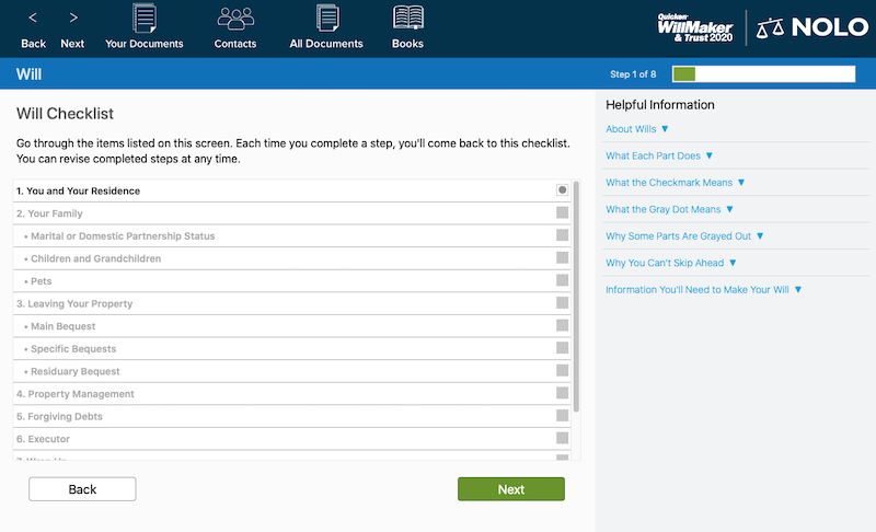 Quicken Willmaker's will checklist page