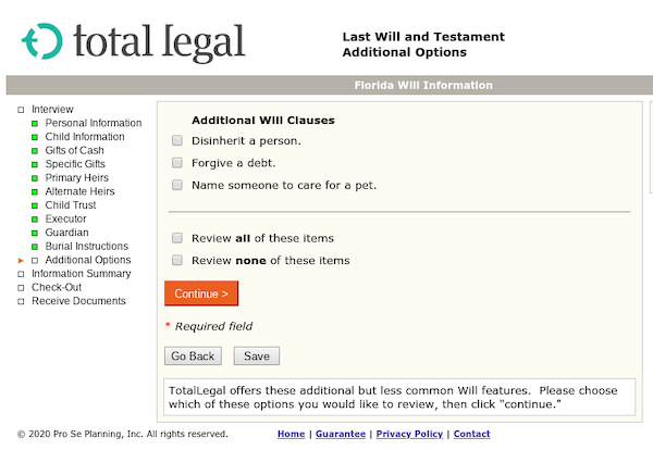 TotalLegal's last will and testament additional options page